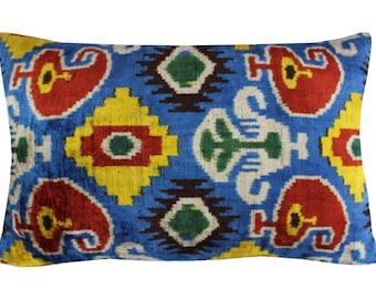 Silk Velvet Ikat Pillow Cover VP7, Bohemian pillow, Velvet Ikat Pillow, Velvet Pillow