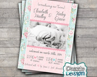 Printable Twin Shabby Chic birth announcement, pink blue floral baby announcement, #300 Digital File or Prints