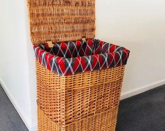 Unique Tartan Storage Laundry Fabric Lined Wicker Basket Cosmetics Bathroom Bedroom