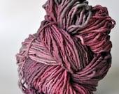 Handdyed, Hand dyed Yarn Wool Pink, Purple, Grey, Gifts Knitters, Knitting Yarn, Yospun, Weaving, Crochet, Fiber Arts, Novelty, artisan, art