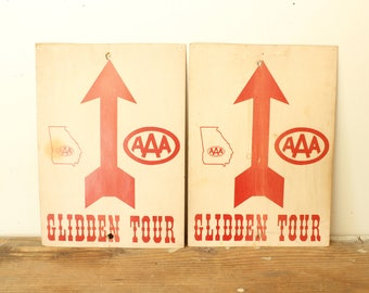 Vintage General Store Signs Paper Ephemera Card Stock Advertising Triple A Glidden Tour Set of Three Red Arrows