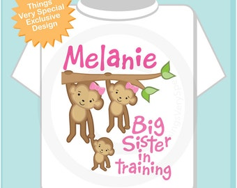 Girls Big Sister in Training Shirt or Onesie, Monkey Shirt, Personalized Middle Sister, Big Sister, Baby Monkey(12292011a)