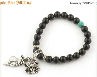 ON SALE Skull and Heart Bead Bracelet With Natural Stones