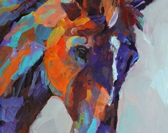Colorful Horse Print of Original Acrylic Painting - 11x14