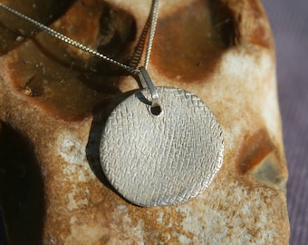Textured Fine Silver Disc Necklace