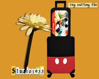 Mickey suitcase gift card holder SVG instant download FCM cut files for cutting machine; Disney die cut