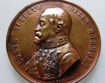 1874 Catholic medal Conte Alberto Della Marmora by G. GALEAZZI F