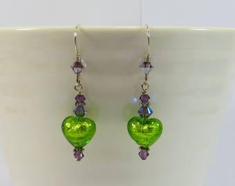 Mini Heart Earrings, Erba Green Venetian Murano Glass Earrings w Swarovski 925 Sterling, Tiny Green Hearts w 24kt Goldfoil Murano Earrings