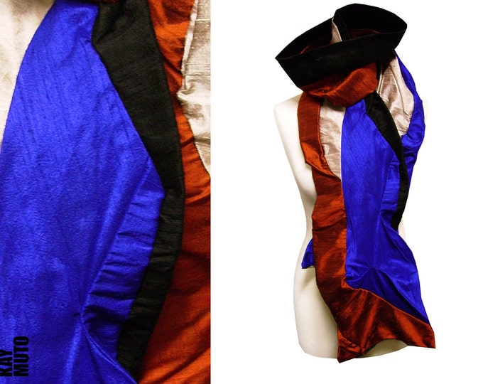 SALE 50% silkscarf amorphous patchwork royal powder copper
