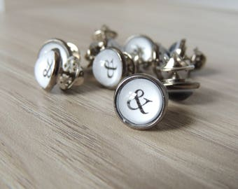 6 Ampersand Groomsmen Tie Tacks // Typewriter tie tacks