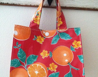 Beth's Red Oranges Oilcloth Lunch Box