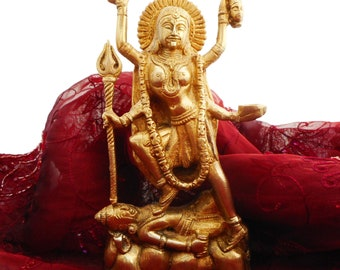 "8"" HIMALAYAN 8 Metal Alloy Goddess KALI  / KAALI Dancing on Shiva Statue / Sculpture from Himachal Pradesh - India. Blessed & Initiated."