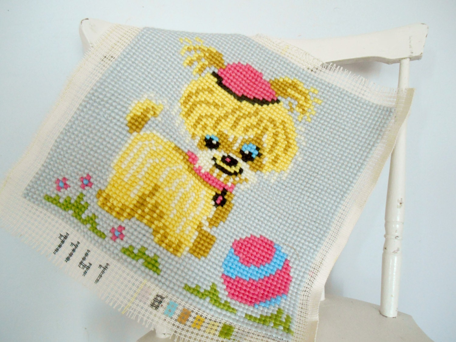 Vintage embroidery Embroidered dog Unframed wall hanging Cross
