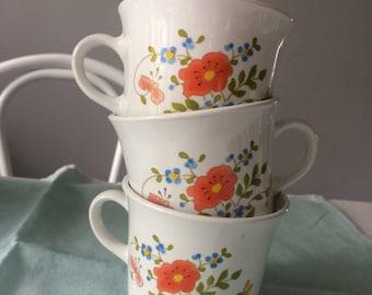 set of 3 Corelle Corningware teacup mug wildflower