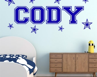 STARS Personalised ANY NAME Girls Boys Kids Childrens Bedroom Playroom Nursery Vinyl Matt Wall Art Sticker Decal Transfer 20 colours 2 Sizes