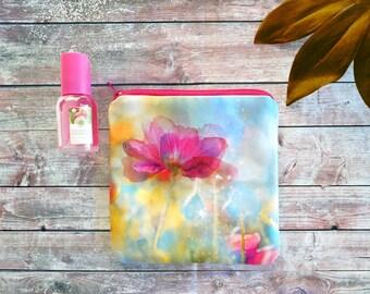Boho coin purse, poppies watercolor, happy coin purse, fabric handmade purse, travel organizer bag, small makeup bag, zippered coin purse