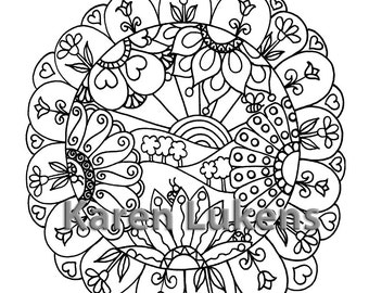 Happy Mandala, 1 Adult Coloring Book Page, Instant Digital Download