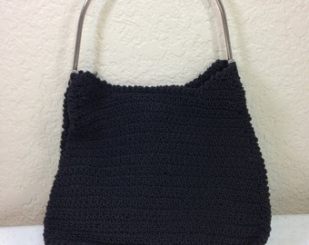 Vintage Black Knit Purse Handmade with Silver Handle 11.75 Inches Tall 8 Inches Wide Previously 19 Dollars ON SALE