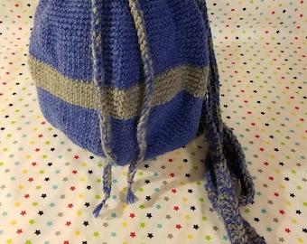 Blue & Gray Crochet Backpack