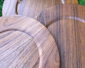 Three amazing teak wood plates or smaller chargers - Morsbak Made in Denmark