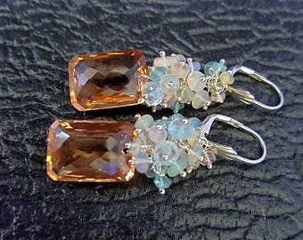 Morganite Quartz with Ethiopian Opal, Aquamarine, Morganite on Sterling Silver Earrings Gift for Her