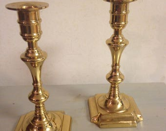 Two Polished Brass Candlesticks/ Solid/ Heavy Weight