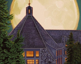 Timberline Lodge and Full Moon - Mt. Hood, Oregon (Art Prints available in multiple sizes)