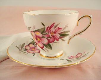 Vintage Teacup Pink Oleander Royal Kendall English Bone China Floral Teacup and Saucer Cottage Garden Teacup Tea Party
