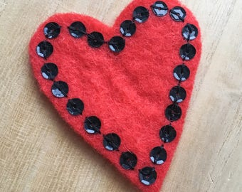 Heart Sequin Brooch in Ruby Red and Black - Romantic Gift - Hand Stitched with Love