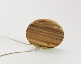 Large Round Spalted Maple Wood Pendant