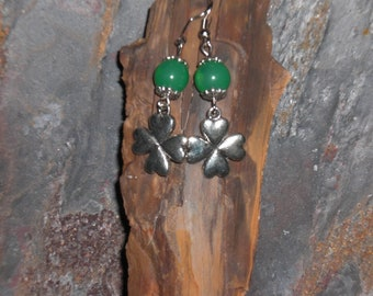 Beaded 4 Leaf Clover Earrings