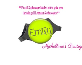 Lime Personalized Stethoscope ID tag, Personalized Stethoscope Name Tag, Monogram Stethoscope Name Tag, Stethoscope Name ID Tag,