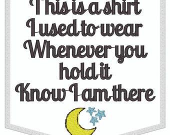 Pocket Memorial Patch, moon stars,shirt I used to wear, white applique, Memory pillow applique, sew or iron-on. 3.5 X 3.5 inches