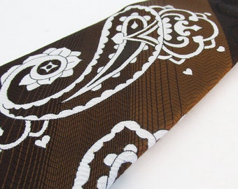 Kitschy Mid Century Brown Paisley Clip-on Tie - FREE USA SHIPPING