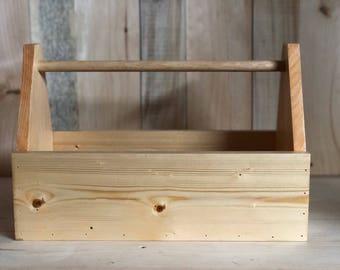 Honey Pecan Wood Tote Box