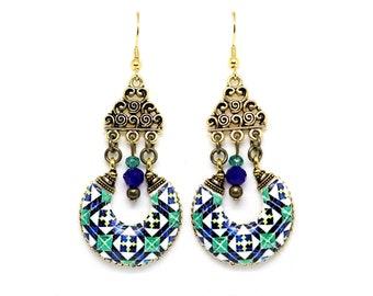 Chandelier antique earrings, portuguese statement gold earrings, tile earrings, azulejo, unique dangle earrings, anniversary gifts for women