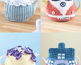 Tea cosies Sirdar Country Style DK Knitting/Crochet Pattern 7221 , Teacosy cottage , cupcake, campervan and teacosy with butterflies