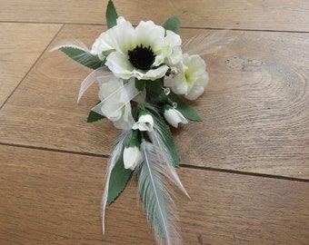White Anemone and White Blossom Flower Corsage, Wedding, Prom, Anniversary.