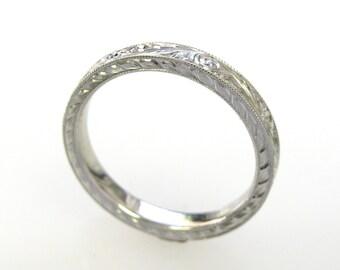 3mm Platinum Hand Engraved Wedding/Anniversary Band
