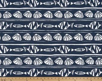 Vintage Indigo and  white  fabric by yard. Vintage indigo Caicos sea shell Print .Premier prints.  Fabric by the yard