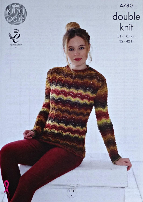 d3da9808b Womens Knitting Pattern K4780 Ladies Long Sleeve Round Neck Fan   Feather  Lace Jumper Knitting Pattern DK (Light Worsted) King Cole from  KnittingPatterns4U ...