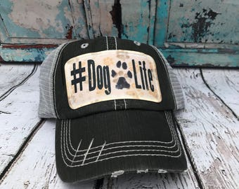 Dog life hat// dog trucker hat// dog lover hat// Baseball hat// Dog hat// Hat// Gift