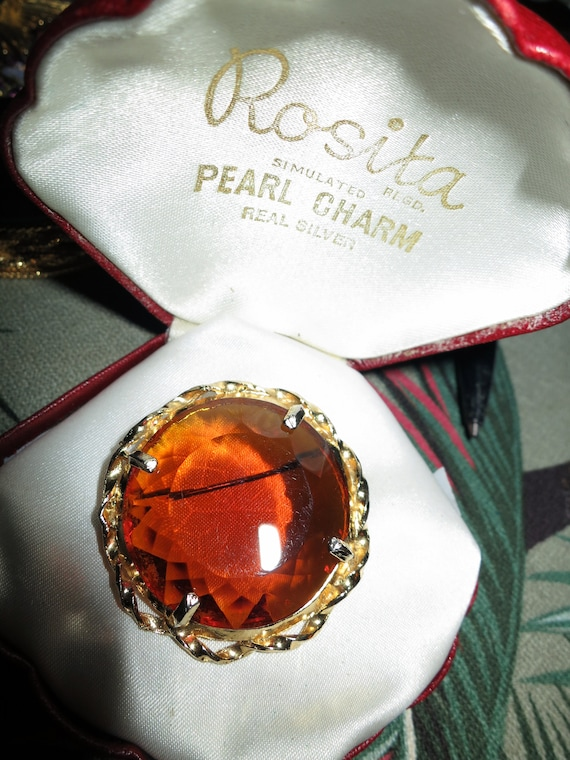 Lovely vintage quality gold plated faceted amber glass  brooch