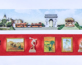 "Paris Scenes/Landmarks or Art Museum Paintings Washi Tape 24"" Sample - MASTÉ Japanese Washi Tape"