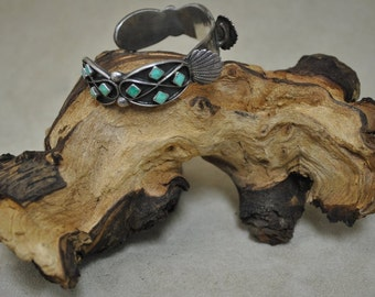 Sterling Silver Vintage Turquoise Watch Cuff