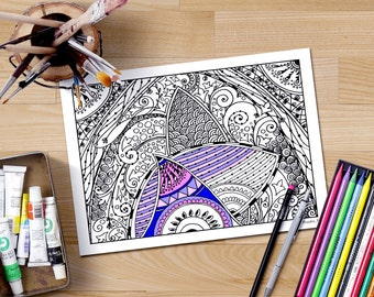 Abstract doodle coloring pages, zentangle coloring page, printable coloring pages, art therapy, zentangle inspired,coloring pages for adults