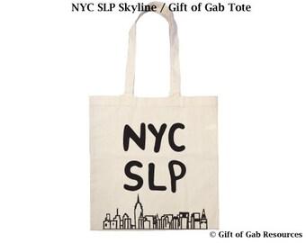NYC SLP & Skyline- Cotton Tote Bag Speech Pathologist Tote Bag, Speech Language,teacher, New York, Recycling Bag, Reusable Cotten Tote