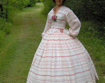 FOR ORDERS ONLY - 1800s Victorian Picnic Dress 1860s Civil War Summer Day Gown - Skirt Bodice  Reenacting Wedding
