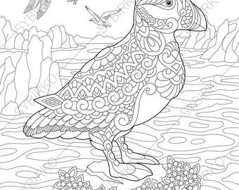 Puffin. Coloring Pages. Animal coloring book pages for Adults. Instant Download Print