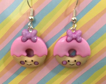 Happy Frosted Strawberry Donuts Dangle Earrings